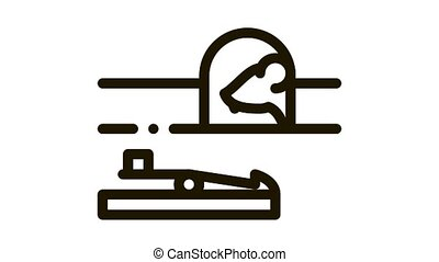 Mousetrap Icon Animation. black Mousetrap animated icon on white background