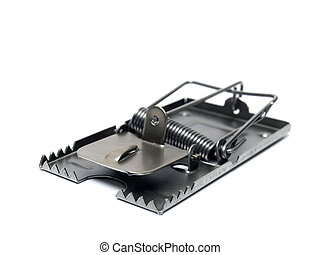 Mousetrap - Metal mousetrap on a white background.