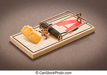Mousetrap with Bait isolated on a dark background