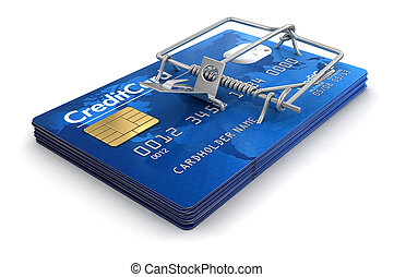 Mousetrap with Credit Cards. Image with clipping path