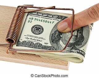 Mousetrap with dollar bills.