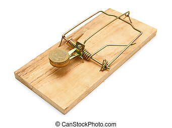 Mousetrap with gold coins. On a white background.
