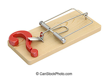 mousetrap with question mark, 3D rendering