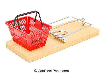 Mousetrap with shopping basket, 3D rendering
