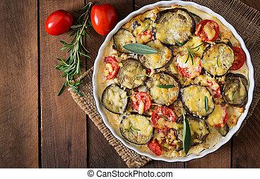 moussaka, (eggplant, casserole)