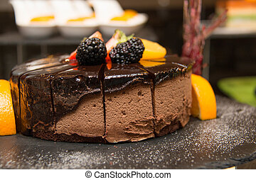 mousse chocolate cake on buffet dessert - Triple mousse...