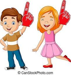 mousse, garçon, doigt, projection, dessin animé, girl, une, nombre