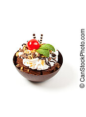 Mousse in a dark chocolate cup