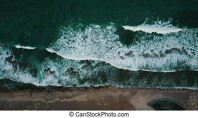 mousse, texture, au-dessus, aérien, océan, vagues, 4k, turquoise, vol
