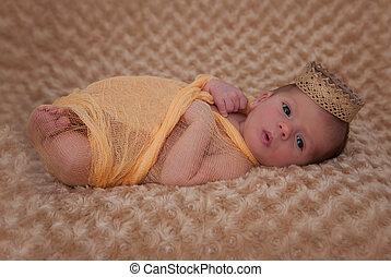 mousseline, emballé, couronne, bébé