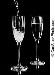 mousserende wijn, geregen, in, champagne canneleert