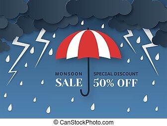 mousson, vecteur, coup foudre, parapluie, orage, saison,...