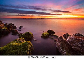moussu, coucher soleil, rocher