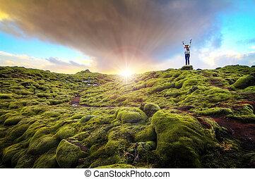 moussu, paysage, levers de soleil