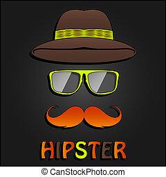 moustache, affiche, hipster, retro, chapeau, lunettes