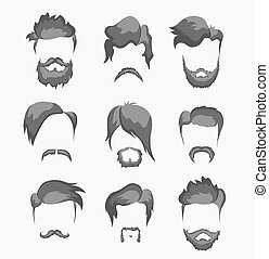 moustache, barbe, et, coiffure, hipster