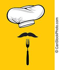 moustache, chapeau, fourchette, chef cuistot