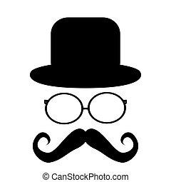 moustache, chapeau, lunettes