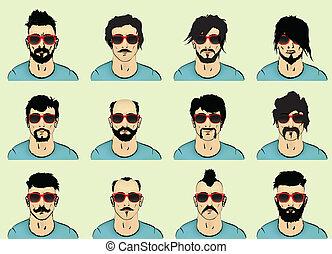 moustache, cheveux, barbe