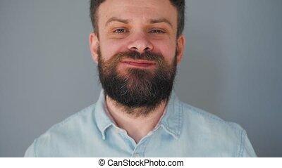 moustache, chocolat, haut, mur, homme barbu, frisé, puce, gris, biscuits, fond, manger
