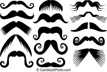 Moustache Clip Art - A set of black silhouette moustaches...