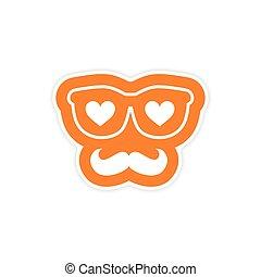 moustache, coeur, lunettes, papier, fond, autocollant, blanc