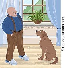 moustache, conversation, maison, intérieur, homme chauve, personne agee, sien, chien