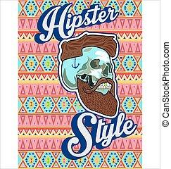 moustache, crâne, barbe, hipster