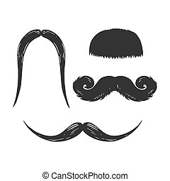 Moustache engraving vector illustration. Scratch board style...
