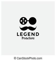 moustache, film, homme, logo, conception, chapeau, lunettes soleil