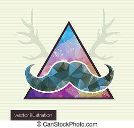 moustache, fond, hipster