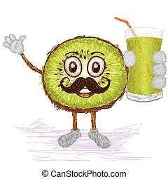 moustache, fruit kiwi