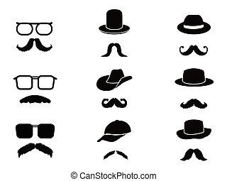 moustache, homme, chapeaux, invisible