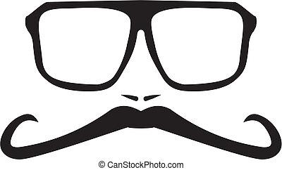 moustache, hommes, figure, vecteur, long