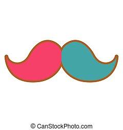 moustache, isolé, coloré
