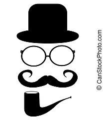 moustache, lunettes, chapeau