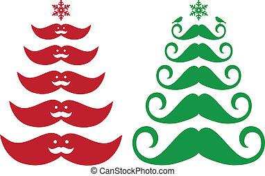 moustache, noël, vecteur, arbres