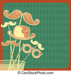 Moustache party background.Vector illustration on old paper
