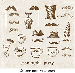 Moustache party objects