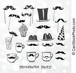 Moustache party objects i