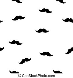 Moustache seamless pattern vector. Random icon isolated on white background