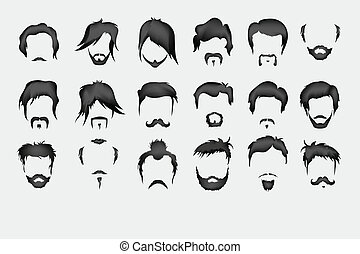 moustache, set., vecteur, cheveux, barbe
