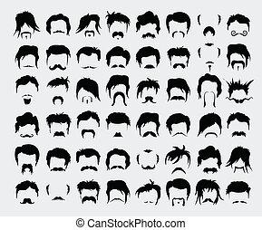 moustache, set., vecteur, cheveux, barbe