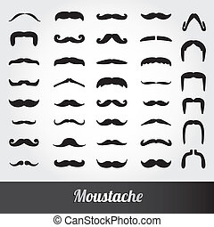 moustache, vecteur, ensemble