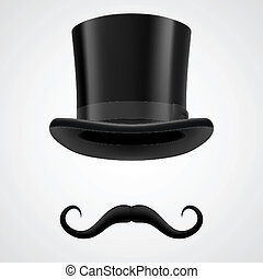 moustaches and stovepipe hat magician - curly moustaches and...