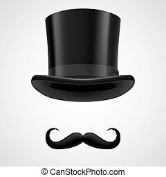 moustaches and stovepipe hat victorian gentleman - curly ...