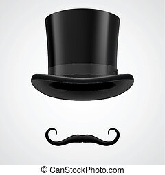 moustaches and top hat victorian aristocrat - curly retro...