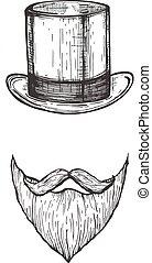 moustaches, barba, caballero, sombrero