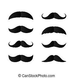 moustaches., día, aislado, conjunto, silueta, padres, negro...