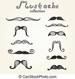 moustaches, dessiné, ensemble, main